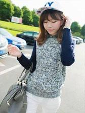 New Fresh Girl Color Block Spliced Long Sleeve Pullovers