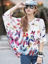 Fashion Girls Butterflied Printed Chiffon Batwing Blouse