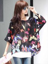 Fashion Boho Style Butterfly Pattern Asymmetrical Bat Sleeve Blouses