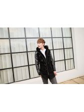 Noble Style Men Fur Hooded PU Patched Horn Buttons Wool Coats