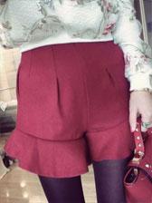 Casual Style Ruffles Hem Sweet High Waist Short Pants