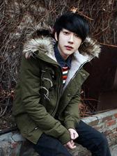 Fashion Korea Men Fur Hooded Horn Buttons Pure Color Cotton Outwears