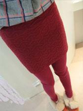 Korean Trendy Wrap Velvet Embossing Pure Color Fitting Culotte Leggings