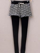 Hot Sale Fake Two Pieces Elastic Waist Leggings