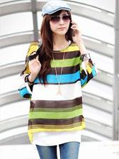 New Fashionable Bohemian Style Stripe Printed Bat Sleeve Blouses