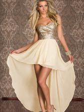 Hot Selling Sexy Strapless Irregular Hem Sequin Decoration Chiffon Long Dress