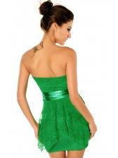 Fashion Lady Pure Color Lace Patched Strapless Dresses