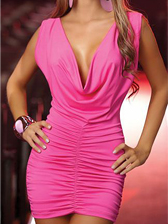 Hot Lady Solid Color Low Cut Backless Sleeveless Dresses