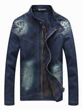 Punk Style Men Rivets Shoulder Stand Collar Denim With Cotton Jackets