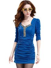 Fashion Female Square Collar Sequin Beading Ruffles Slim Dress