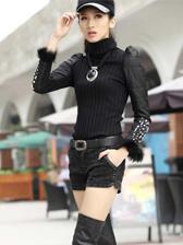 Popular Trendy Cotton Spliced Fur Cuff Pure Color Long Sleeve Sweater