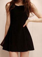 2013 New Style Sweet Solid Color Round Neck Ruffles Hem Sleeveless Dress