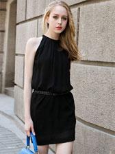 Europe Style Popular Hot Sale With Belt Sweet Halter Dress