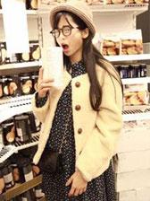 Fashionable Girl Double Pocket Three Quarter Sleeve Jacket Tops