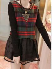 High Quality Fresh Korean Style Colorful Plaid Round Neck Woolen Dress