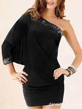 Special Chic Design Sequin One-Shoulder Pure Color Bat Sleeve Dress