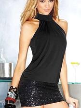 High Quality Shoulder Off Sequin Decoration High Neck Dress