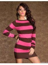 Fashion Stripe Spliced Color Round Collar Long Sleeve Dress