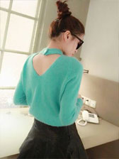 Korean Fashion Style Pure Color Back Hollow-Out Knitted Rabbit Fur Pullovers Sweater