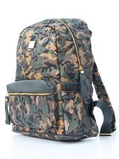 Popular Fashion Men Camouflage Printed Small Pocket Golden Zipper Backpacks