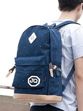 Preppy Style Men Side Pockets Patchwork White Dots Backpacks