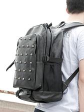 Fashion Korea Men Front Rivets Decorated Mesh Pocket Backpacks
