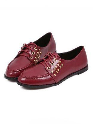 Britpop Stylish Pure Color Bandage Rivet Design Chunky Heel Shoes