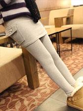 On Sale New Pure Color Number Pattern Side Pockets Decoration Legging