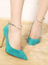 Korean Fashion Top Style Pumps Sharp Toe One-Buckle Belt Thin Heel Pump