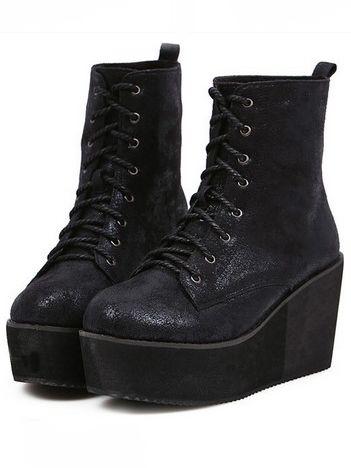 Special Stylish Front Bandage Increase Wedge Heel Platform Black Short Boots