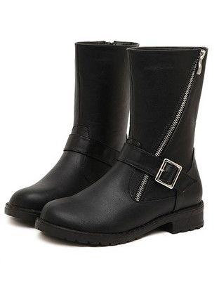 Preppy Style Belt Buckle Side Zipper Chunky Heel Platform Short Boots