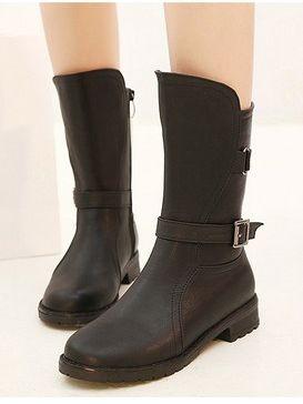 In Vintage Belt Buckle Side Opening Chunky Heel Platform Short Boots