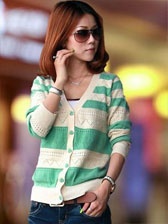 Newest Fashion Style Single-Breasted V-Neck Knitted Cardigan Stripe Long Sleeve Coat