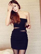 Fashion Sexy Lady One Shoulder Gauze Matching High Waist Warp Concealed Zipper Strapless Dress
