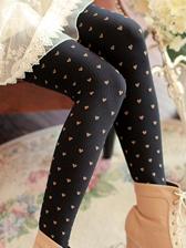 Slim Fitted Love Patten Vertical Stripes Trample Feet Socks Leggings