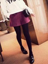 Hot Woman Fashion Solid Color High Waist Hot Drilling Pocket Decoration Short Pants