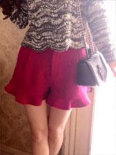 New Items Pretty Girl Pure Color Zipper Up Nature Waist Ruffles Short Pants