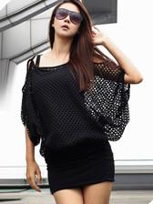 Hot Selling Korean Style Sexy Lady Shoulder Off Gauze False Two Piece Brace Dress