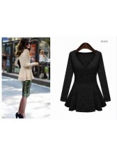 Euro Style Luxury Lady V-Neck Pure Color Long Sleeve Ruffles Lace Blouse