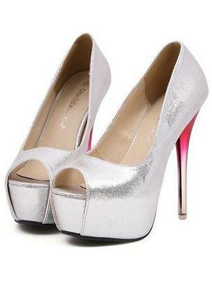 Luxury Classic Stylish Peep Toe Pumps Thin Heel Platform Pumps In Sliver
