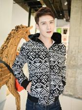 National Style Men Hooded Geometrical Patterns Color Block Thick Velvet Coat