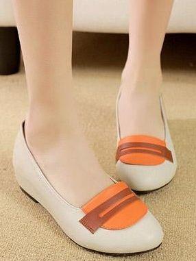 Korean Elegant Lady Style Color Block Round Toe Comfort Apricot Flat Shoes