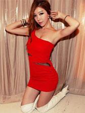 Fashion Sexy Lady One Shoulder Gauze Matching High Waist Warp Concealed Zipper Asymmetrical Dress