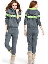 2013 Newest Wholesale Leisure Hooded Cartoon Pattern Two Piece Long Sleeve Out Wear