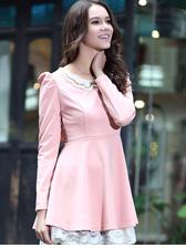 Popular Elegant Lace Match Waisted Puff Sleeve Studded Collar Dress