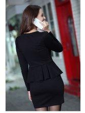 Ladylike Style Korean Round Neck Double-Breasted Flounced Wrap Dresses