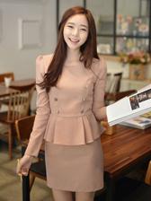 Korean Ladylike Look Wrap Flounced Double-Breasted Slim Fake Two-Piece Dress