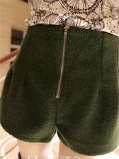 Korea Style Lady Empire Waist Front Zipper Back Elastic Woolen Short Pants