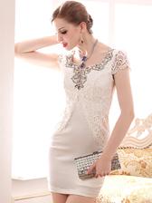 Elegant Lady Short Sleeveless Pace Patched Back Zipper Solid Color Rhinestone Beading Dress