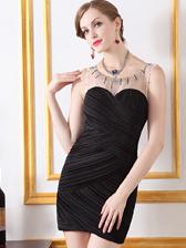 Sexy Lady Top Sale Beading Round Collar Gauze Spliced Sleeveless Slim Party Dress